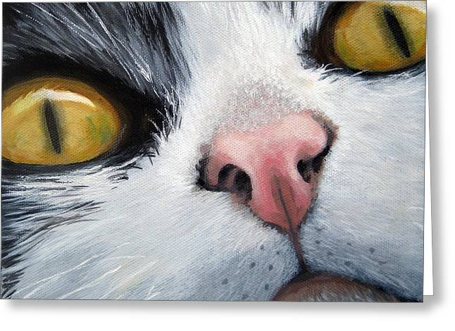 Cat Eyes Greeting Card by Linda Apple