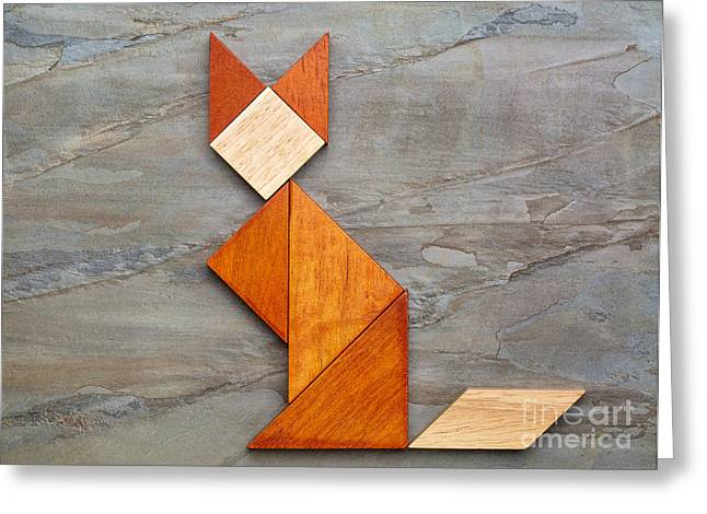 Cat Figure - Tangram Abstract Greeting Card