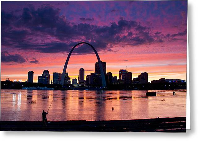 Cat Fishing Across From The Arch Greeting Card by Garry McMichael