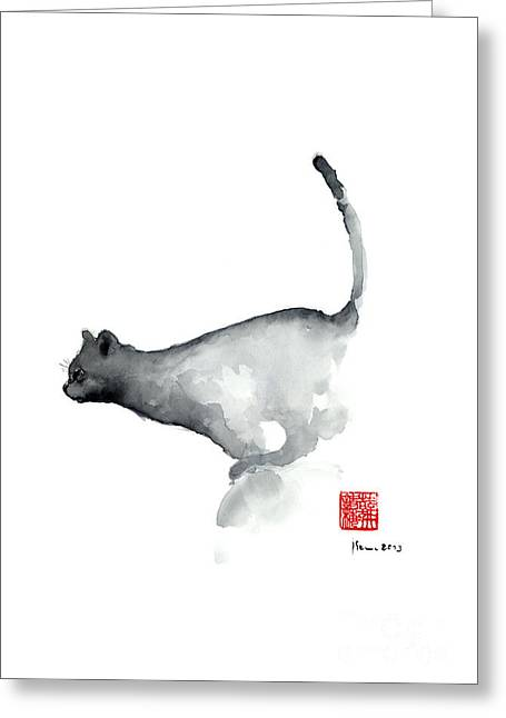 Cat Grey Black Blue Navy Funny Kitten Jump Meow Watercolor Painting Greeting Card by Johana Szmerdt