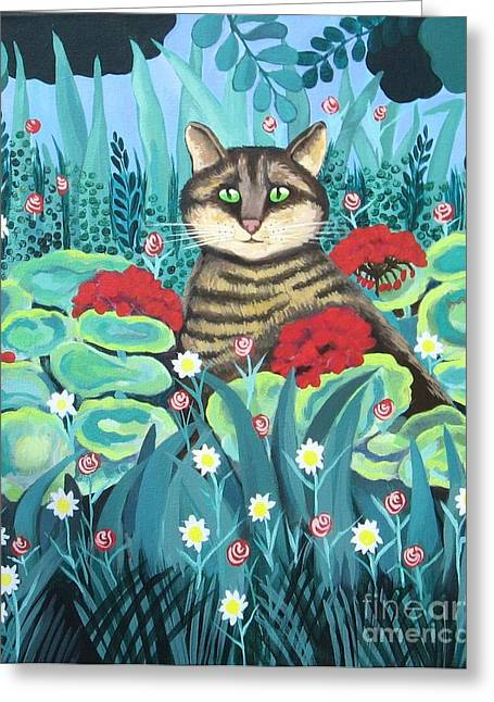 Cat Hiding In The Rainforest Greeting Card