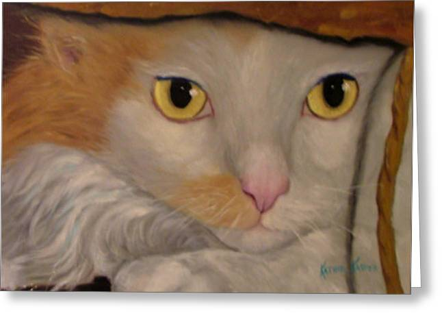 Cat In A Bag Greeting Card by  Kathie Kasper