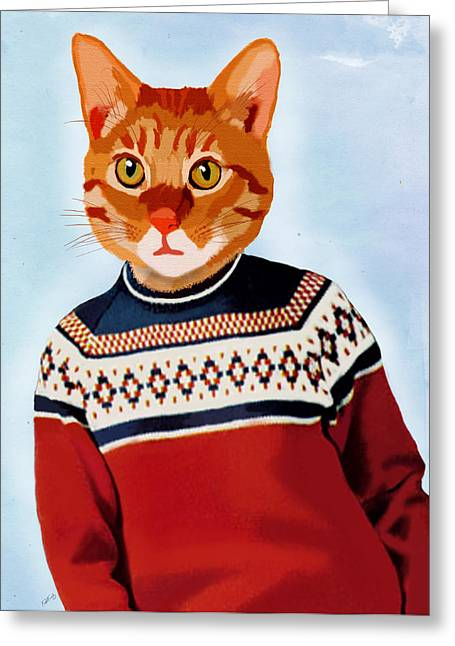Cat In A Ski Jumper Greeting Card by Kelly McLaughlan