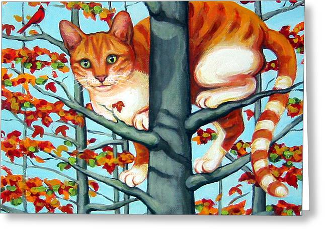Orange Cat In Tree Autumn Fall Colors Greeting Card by Rebecca Korpita