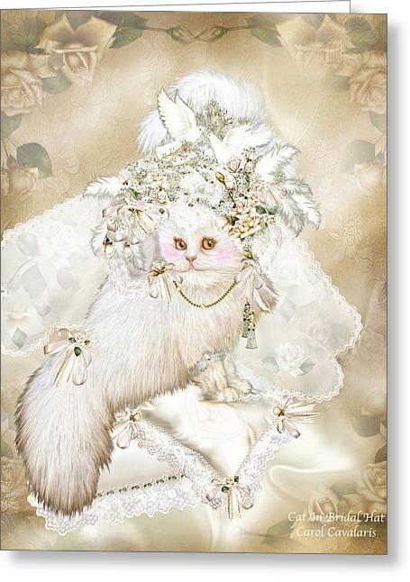 Cat In Fancy Bridal Hat Greeting Card by Carol Cavalaris