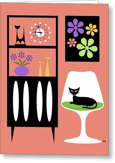 Cat In Pink Room Greeting Card by Donna Mibus