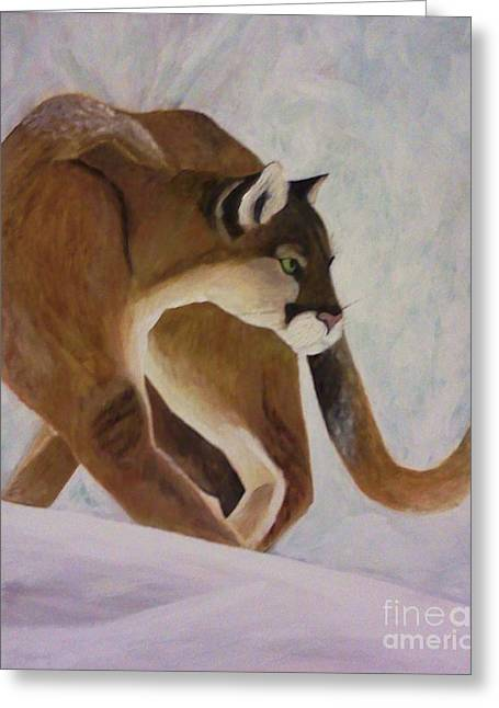 Greeting Card featuring the painting Cat In Snow by Christy Saunders Church