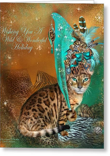 Cat In The Leopard Trim Santa Hat Greeting Card
