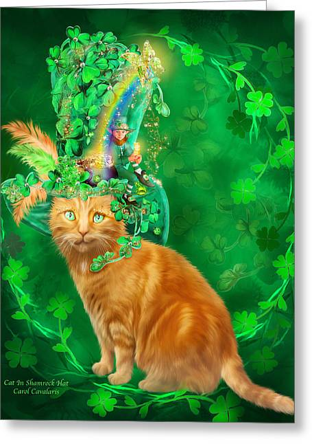 Cat In The Shamrock Hat Greeting Card by Carol Cavalaris