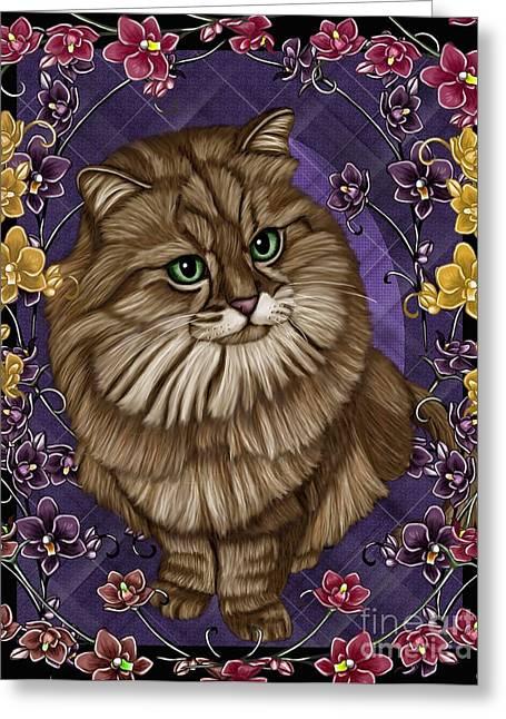 cat Greeting Card by Karen Sheltrown