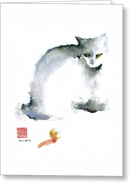 Cat Kitten Blue Animal Grey Ball Cute Fun Animals Watercolor Painting Greeting Card