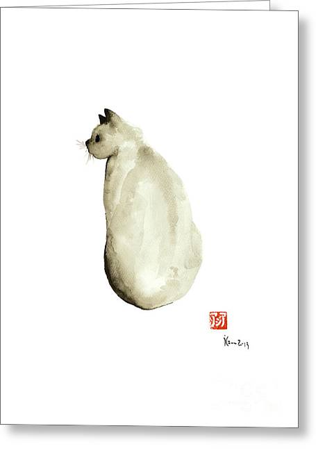 Cat Little Kittlen Syjamese White Cappuccino Black Grey Brown Meow Greeting Card by Johana Szmerdt