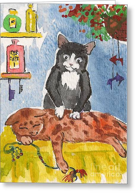 Cat Massage Greeting Card by Margaryta Yermolayeva