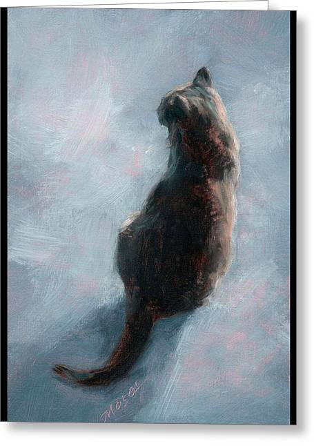 Cat On Concrete Greeting Card by Diana Moses Botkin