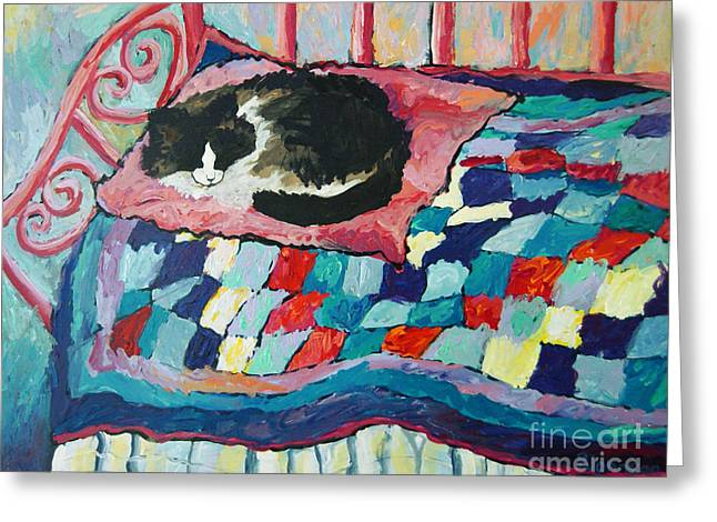 Cat On Pink  Greeting Card