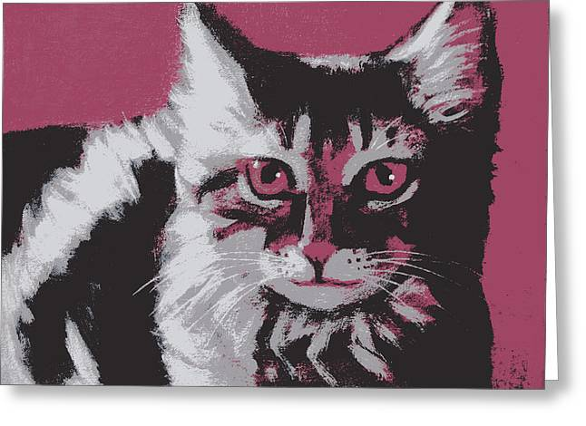 Cat On Red Greeting Card by Kazumi Whitemoon
