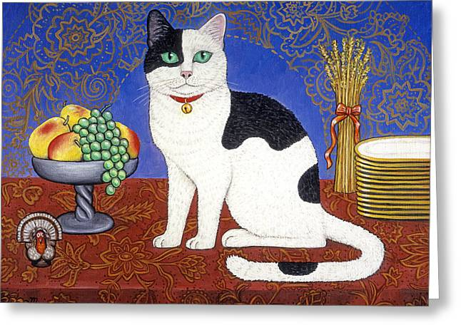 Cat On Thanksgiving Table Greeting Card by Linda Mears