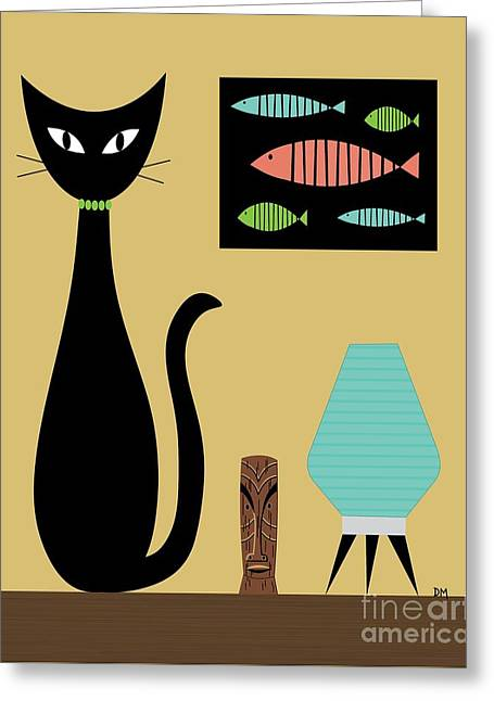 Cat On Tabletop Turquoise Lamp Greeting Card