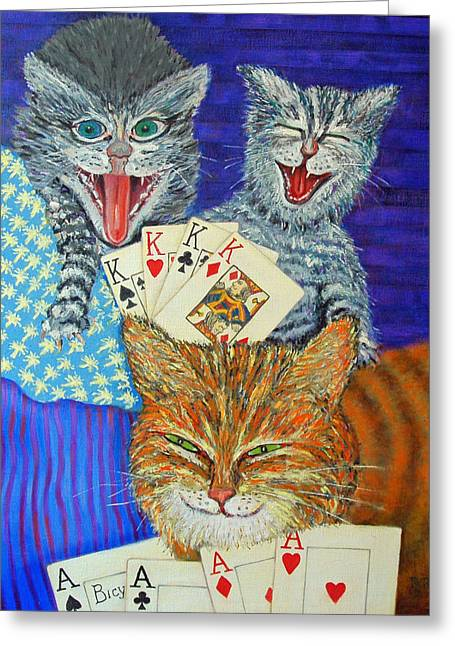Cat Poker Greeting Card by Dwain Ray