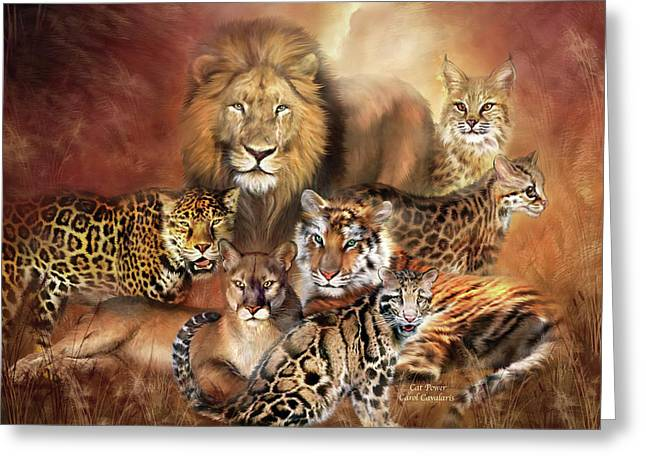 Cat Power Greeting Card by Carol Cavalaris