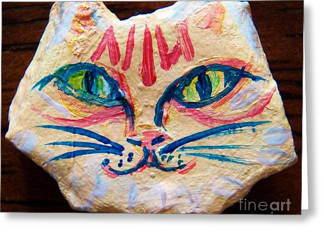 Cat Rock Greeting Card by Judy Via-Wolff
