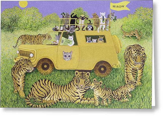 Cat Safari  Greeting Card by Pat Scott
