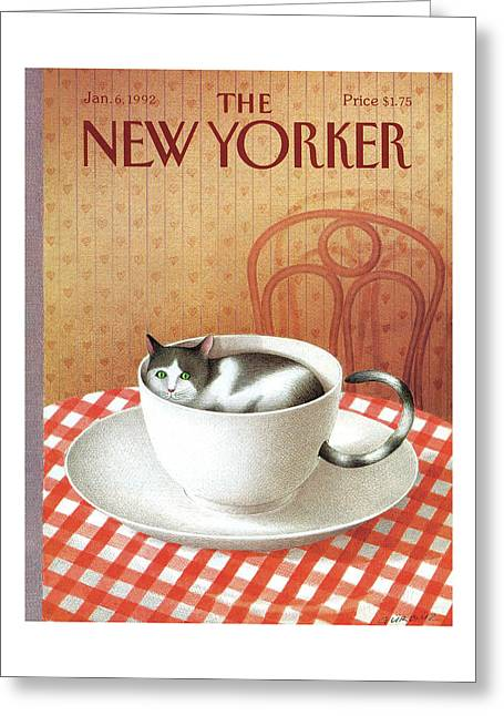 Cat Sits Inside A Coffee Cup Greeting Card