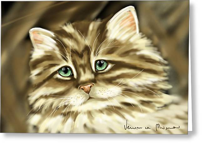 Cat Greeting Card by Veronica Minozzi