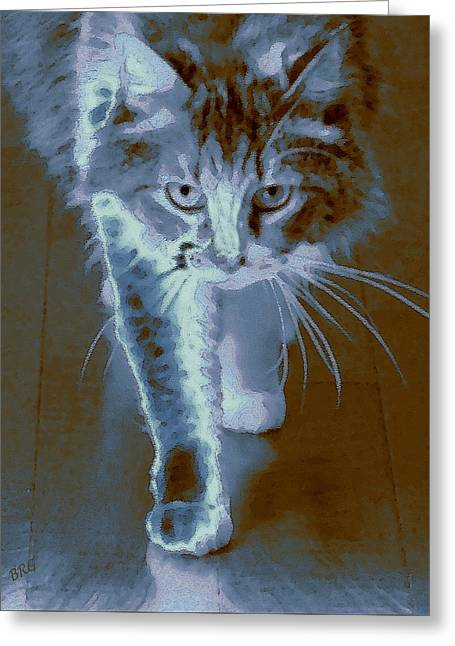 Cat Walking Greeting Card by Ben and Raisa Gertsberg