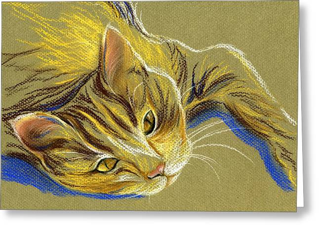 Cat With Gold Eyes Greeting Card by MM Anderson