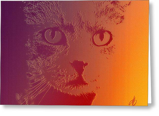 Cat With Intense Stare Abstract  Greeting Card by Denise Beverly