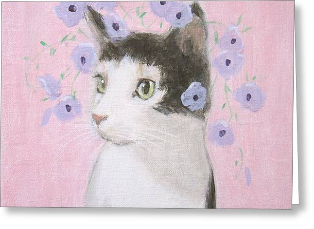 Cat With Purple Flowers Greeting Card