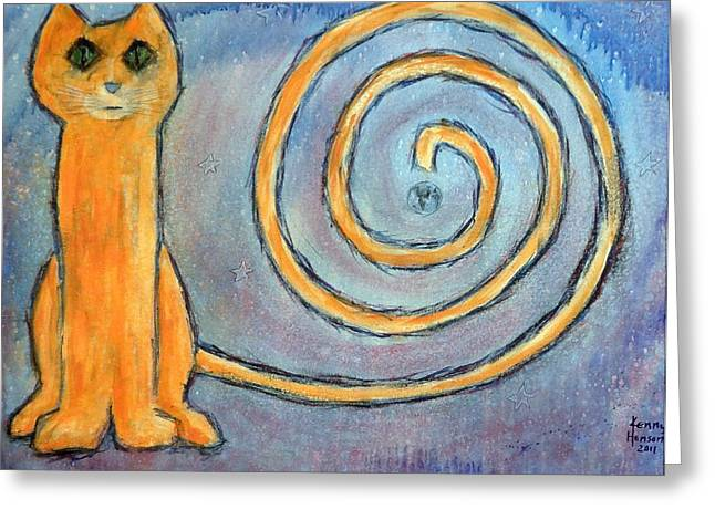 Cat World Greeting Card by Kenny Henson
