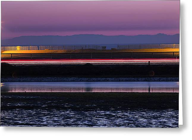 Catalina Bolsa Chica Pch Light Trails And The Wetlands By Denise Dube Greeting Card
