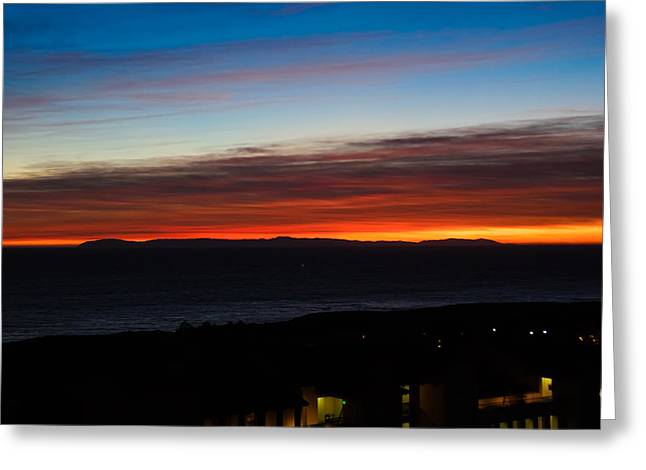 Catalina Island Sunset Greeting Card by Penny Lisowski