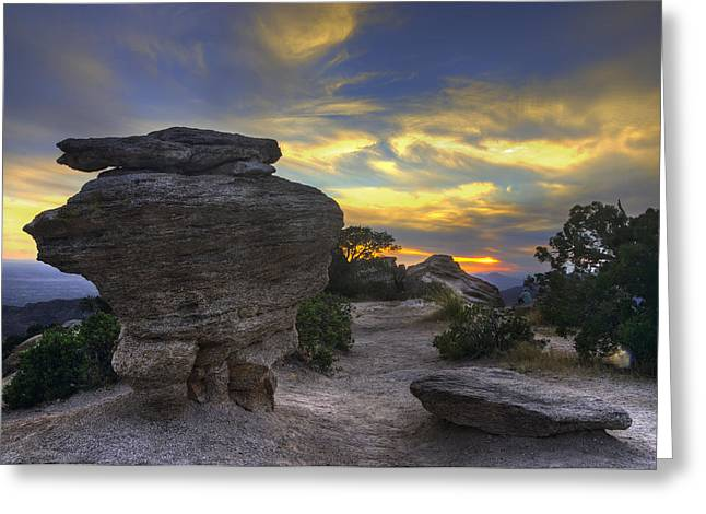 Catalina Mountains Sunset Near Tucson Arizona Greeting Card by Dave Dilli