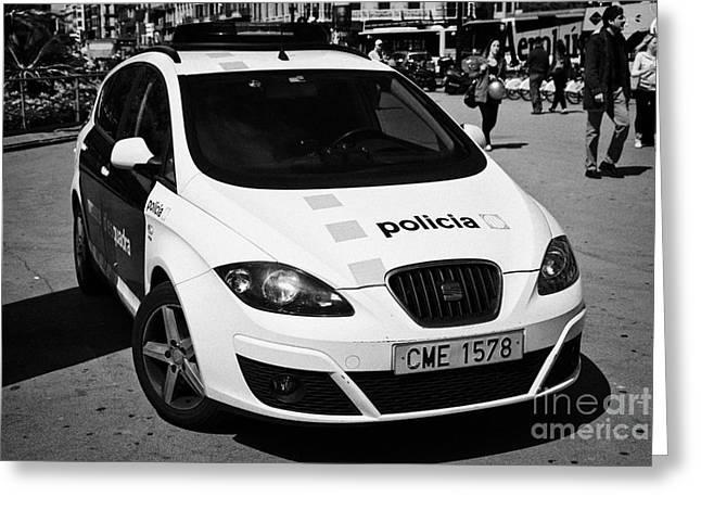catalonian police force mossos d'esquadra patrol car in placa catalunya Barcelona Catalonia Spain Greeting Card