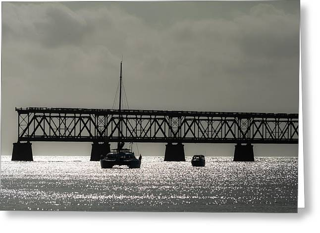 Catamaran Anchored At Old Bahia Honda Bridge Greeting Card