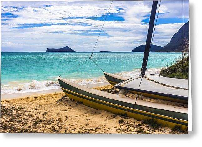 Catamaran On Waimanalo Beach Greeting Card