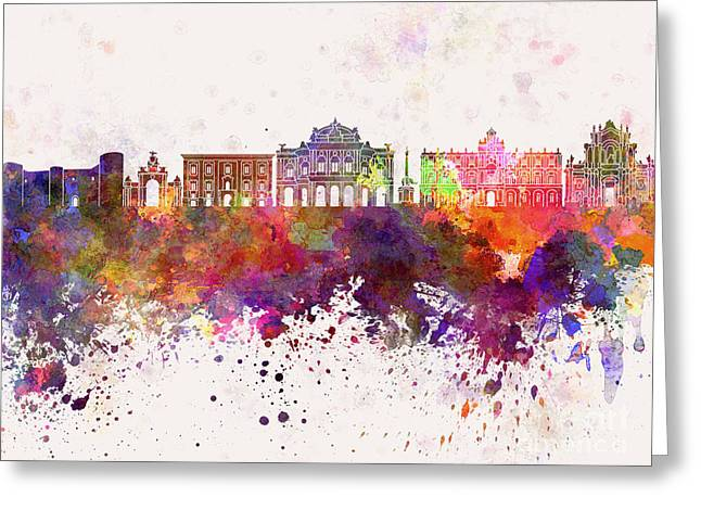 Catania Skyline In Watercolor Background Greeting Card