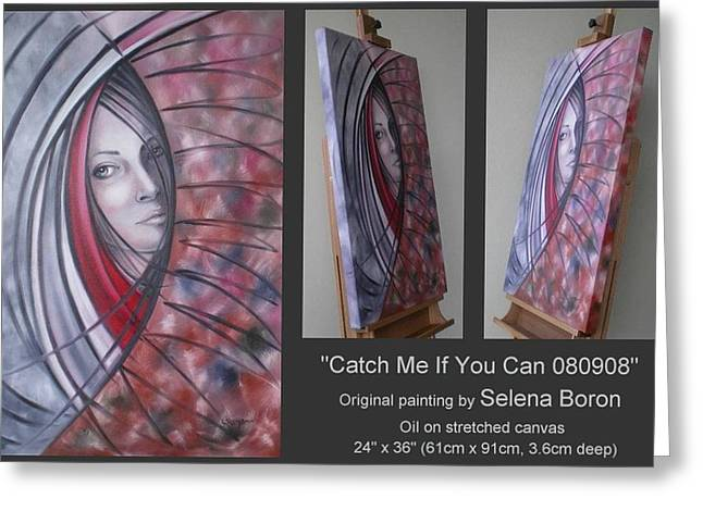 Greeting Card featuring the painting Catch Me If You Can 080908 by Selena Boron