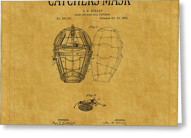 Catchers Mask Patent 1 Greeting Card by Andrew Fare