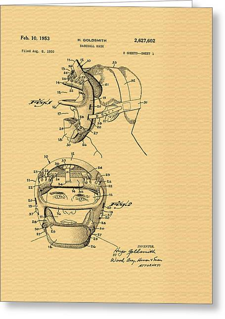 Catcher's Mask Patent - 1953 Greeting Card by Mountain Dreams