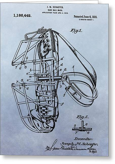 Catcher's Mask Patent Greeting Card by Dan Sproul