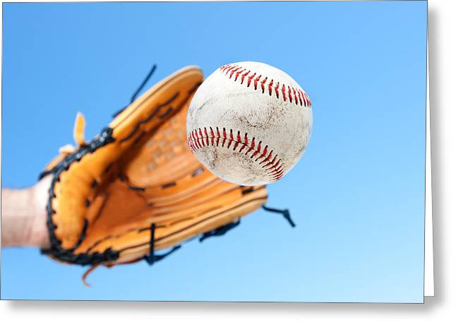 Catching A Baseball Greeting Card by Joe Belanger