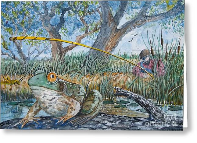Catching Bull Frogs Greeting Card