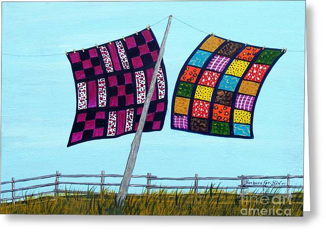 Catching The Breeze Greeting Card by Barbara Griffin