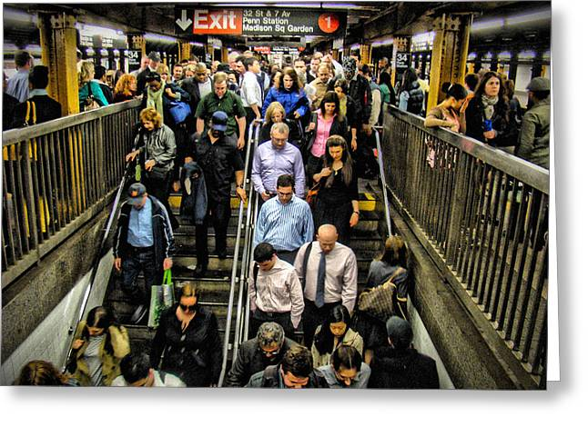 Catching The Subway Greeting Card