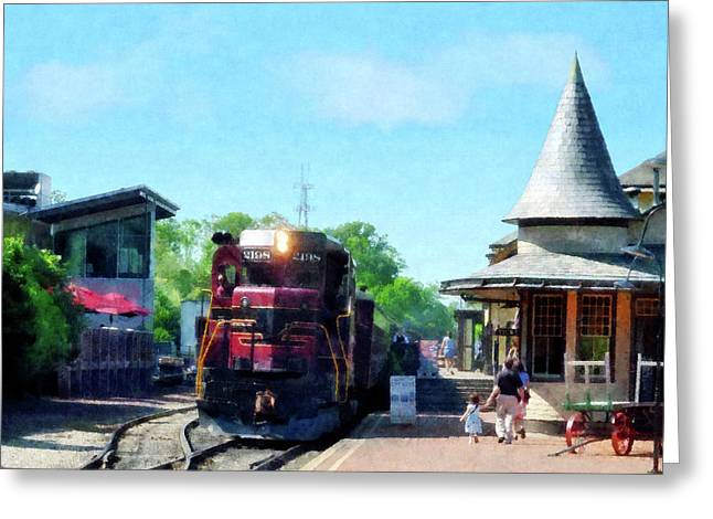 Catching The Train Greeting Card by Susan Savad