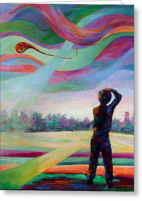 Catching The Wind Greeting Card by Naomi Gerrard